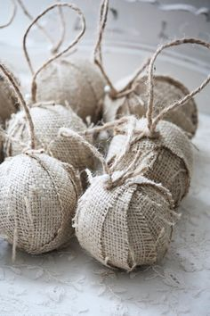 Burlap Rag ball Christmas tree ornaments Set by alicewcollection