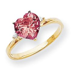 $240 14k Gold 7mm Heart Created Ruby AA Diamond ring