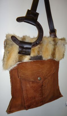 Joey D Leather Fur and Horseshoe Bag