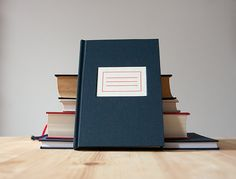 Navy Hardcover Notebook with Label Debossed on Front by knotbooks