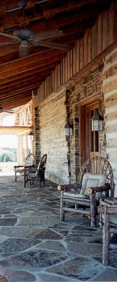 log cabins are built into this rustic country retreat by Sentient Architecture. Want a porch like this. Stone Porches, Decks And Porches, Cabin Porches, Cabin Homes, Log Homes, Future House, My House, Cabins And Cottages, Log Cabins