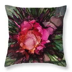 Alcohol Ink Painting Throw Pillow featuring the painting Wild Rose Boutonniere…