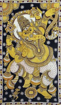Lord Ganesha - Kalamkari Painting: Kalamkari (Telugu) or Qalamkari, is a type of hand-painted or block-printed cotton textile, produced in parts of India and in Iran. The word is derived from the Persian words ghalam (pen) and kari (craftmanship), meaning drawing with a pen (Ghalamkar). wiki