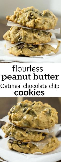 Flourless Peanut Butter Peanut Butter Oatmeal Chocolate Chip Cookies (Gluten Free) (desserts with oats ovens) Gluten Free Baking, Gluten Free Desserts, Delicious Desserts, Yummy Food, Tasty, Gluten Free Chips, Gluten Free Chocolate Chip Cookies, Oatmeal Chocolate Chip Cookies, Flourless Oatmeal Cookies