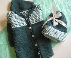 This baby jacket and hat set uses an old-fashioned looking stitch pattern for an elegant look in a relatively simple pattern. Suitable for a boy or girl, the Bumpy Jacket uses organic cotton and is knit all in one piece for quick finishing. Use some vintage buttons for the perfect touch.