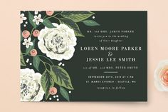 """Climbing Rose"" - Wedding Invitations in Leaf by Alethea and Ruth."