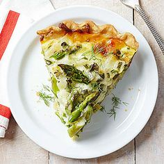 Spring vegetables brighten up this meatless quiche. Don't worry, baking novices: this recipe starts with a refrigerated pie crust./