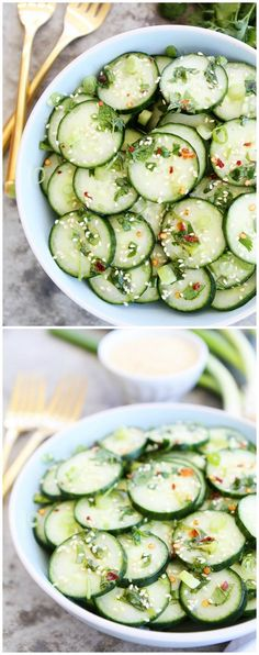 Asian Cucumber Salad Recipe on http://twopeasandtheirpod.com This cool and crisp cucumber salad is easy to make and goes great with any meal.