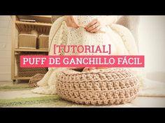Crochet Floor Pouf with Liner Diy Carpet, Modern Carpet, Knitting Videos, Crochet Videos, Macrame Tutorial, Diy Tutorial, Patron Crochet, Diy Ottoman, Crochet Carpet