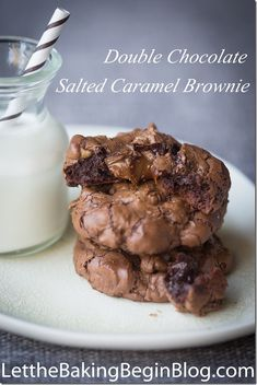 Very Sinful Double Chocolate Salted Caramel Brownie - you will cry with joy from excitement when you bite into one   Let the Baking Begin Blog. com