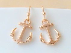 Rose Gold Anchor Earrings - Nautical Wedding by Crystalshadow