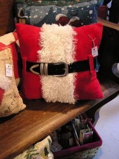 Adorable SANTA's belly pillow from Honey Girl Studio: