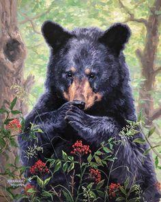 Forest Creatures, Woodland Creatures, Bear Pictures, Animal Pictures, Animals And Pets, Cute Animals, Sloth Bear, Bear Paintings, Bear Art