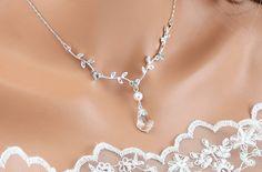 Bridal Necklace Wedding Necklace Crystal by goddessdesignsgems, $52.00