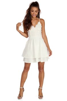 7c68fad065 Ivory Graced In Lace Skater Dress Lace Fabric