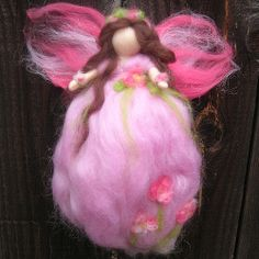 alpaca felted fairies how to | Needle Felted Fairy Angel in pink with flowers Waldorf Inspired by ...