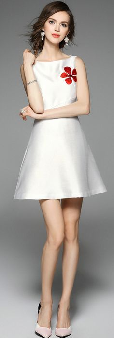 White Floral Embroidery Slimming A Line Mini Dress