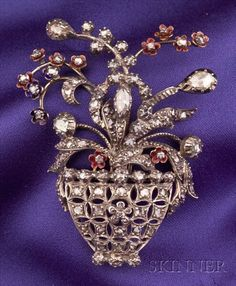 Diamond and Enamel Flower Basket Brooch