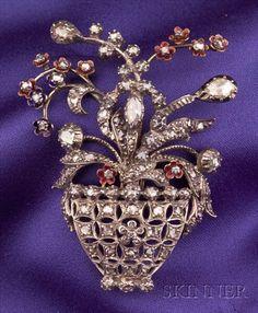 Diamond and Enamel Flower Basket Brooch