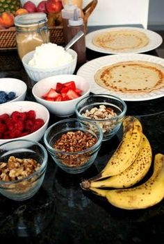 Dessert Crepes... Making clean by using whole wheat flour and adding flax & chia :)