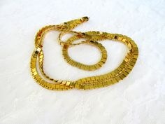 Monet Gold Box Chain Necklace Long Length Signed Vintage Collectible Gift Item 2155