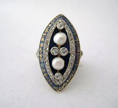 Bejeweled Victorian Diamond, Enamel and Pearl Ring set in 14k Yellow Gold with 14k White Gold around Diamonds (5NX) - $1,895