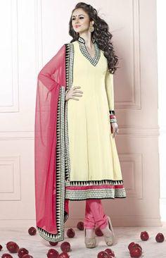 Adorable Cream Color Georgette Designer Churidar Kameez DLS2403. Sale : $101.00