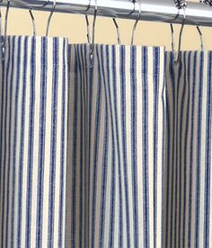 Classic Ticking Stripe Shower Curtain Navy Blue And Ivory Cotton By Kirtamdesigns On Etsy
