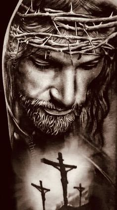 Jesus Christ Painting, Jesus Artwork, Jesus Christ Quotes, Pictures Of Jesus Christ, Jesus Tattoo Design, Jesus Drawings, Heaven Tattoos, Christ Tattoo, Religion