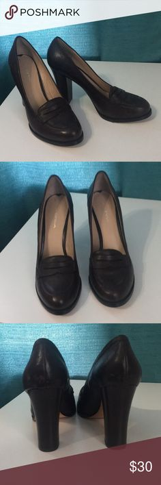 Brown penny loafer heels Get that sexy librarian look with these high heel penny loafers!  Excellent condition. Worn once. Via Spiga Shoes Heels
