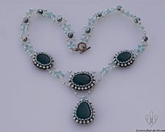 Bluegreen onyx necklace with pearls N279. by FleurDeIrk on Etsy