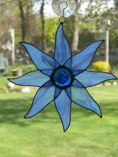 Stained Glass Blue Moon Beams Suncatcher by WildheartGlassDesign, $18.00