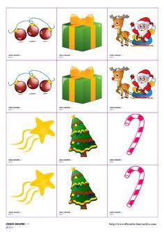 Deux jeux de memory de 30 images chacun, sur le thème de Noël. Une version avec de belles images colorées et l'autre avec des ombres et des formes (Père Noël, sapin, cloches, bonbons, cadeaux, traîneau, guirlandes, flocons de neige...)