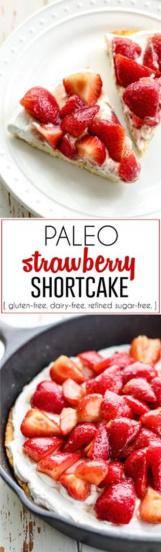 Paleo Strawberry Shortcake! This is so unbelievably good, and simple too. Made using coconut flour, coconut cream, and strawberries, of course. Lower in carbohydrates, gluten-free, dairy-free and refined-sugar free. It is a must make this summer season!