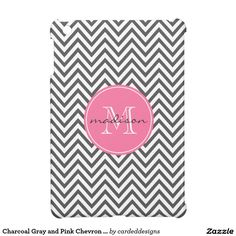 Charcoal Gray and Pink Chevron Custom Monogram Cover For The iPad Mini