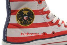 Converse Captain America High Tops The Avengers Edition Blue Red White Stripes Canvas Shoes. Perfect products online sales #Perfect #products #online #sales