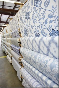and Sheron Fabrics .I've been to a fabric store like this and I thought for a moment I died and went to heaven.I've been to a fabric store like this and I thought for a moment I died and went to heaven. Blue And White Fabric, White Fabrics, Blue Fabric, Blue And White Curtains, Blue And White Wallpaper, Blue And White China, Blue Rooms, Blue Bedroom, Blue White Bedrooms