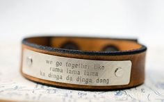 We Go Together Like - Grease Lyrics -  Adjustable Leather Snap Cuff with Engraved Metal Plate on Etsy, $26.00