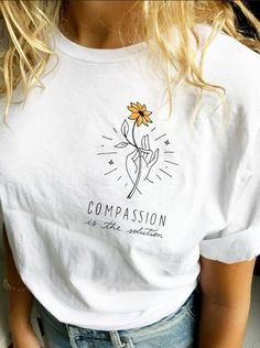 Kuakuayu Hjn Compassion Is The Solution Letter Print Top Summer Unisex Tshirt Cotton Tshirt Black White Color black Size S Summer Outfits, Cute Outfits, Mode Plus, T Shirts For Women, Clothes For Women, Trendy T Shirts, Nice Shirts, Cute Tshirts, Mellow Yellow