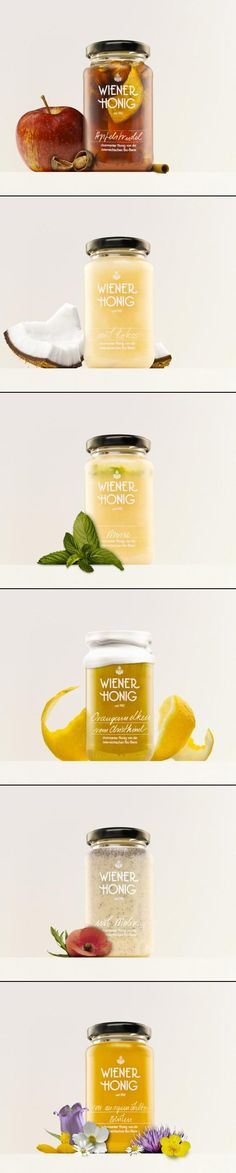 "Weiner Honig packaging by Werner Singer. ""The idea was to create a design that highlights the beauty of the product. The simple package displays the different colors and textures of the varieties. The honey speaks for itself."""