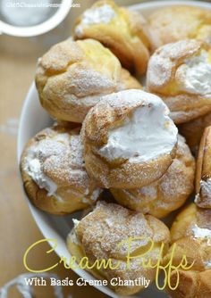 Cream Puffs with Basic Cream Chantilly - OMG Chocolate Desserts These classic homemade Cream Puffs with Basic Cream Chantilly are the perfect treats for any occasion. Treat your taste buds to an explosion of sweet, creamy bliss! Köstliche Desserts, Chocolate Desserts, Delicious Desserts, Yummy Food, Holiday Desserts, Healthy Food, French Desserts, Chocolate Decorations, Chocolate Cream