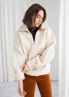 Model front image of Stories faux shearling zip pullover in white Fleece Pullover, Half Zip Pullover, Patagonia Pullover, Fashion Story, Girl Fashion, Fashion Outfits, Fashion 2016, Winter Dresses, Winter Outfits