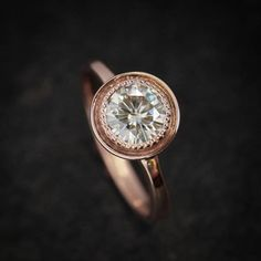 Victorian Style Engagement Ring in 14k Rose Gold // Sparkly White Conflict Free Moissanite Engagement Ring for the Modern Bride