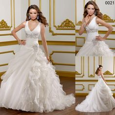 Free Shipping Hot Sale Custom Made New Ball Gown Wedding Dresses 2015 Wedding Gown Sleeveless V Neck Organza Wedding Gown Lace Up Back $168.00