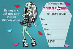 Monster High Free Printables | If you would prefer customized Frankie Stein invitations, click here .