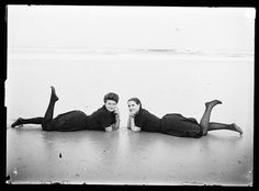 An poster sized print, approx (other products available) - Two women in period bathing costumes lying on the beach in Atlantic City, New Jersey, USA Date: circa 1900 - Image supplied by Mary Evans Prints Online - Poster printed in the USA City Beach, Beach Fun, Beach Pics, Bathing Costumes, Beach Costumes, People Having Fun, Thing 1, Atlantic City, Bathing Beauties