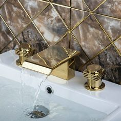 Deck Mounted New Golden Waterfall Tub Filler Bathroom Bathtub Faucets Shower Sink Brass Faucet,Mixers &Taps Basin Sink Bathroom, Bathroom Fixtures, Bathtub Faucets, Shower Bathroom, Brass Faucet, Kitchen Taps, Mixer Taps, Mixers, Deck