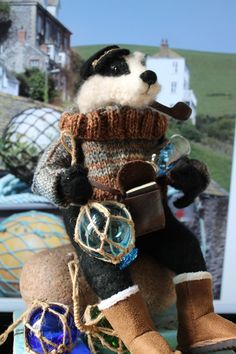 needle felted badger sculpture by OKIEFOLKY