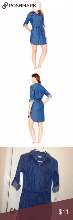 3 for $13 - NWT Denim Chambray Dress Maison Jules Womens FIJI Button-Down Front Adjustable Sleeves Shirtdress x small , with belt  100% cotton, machine washable  armpit to armpit 17 length 32.5 10/13 Maison Jules Dresses