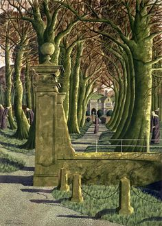 """The Novices Searching for Their Souls"" - Simon Palmer Watercolor Landscape, Landscape Art, Landscape Paintings, Landscape Drawings, Fantasy Paintings, Painting & Drawing, Illustrators, Art Projects, Nature"